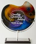 Etched and Multi Color Filled Art Glass Award with Metal Stand