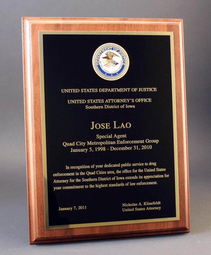 DOJ Award Plaque